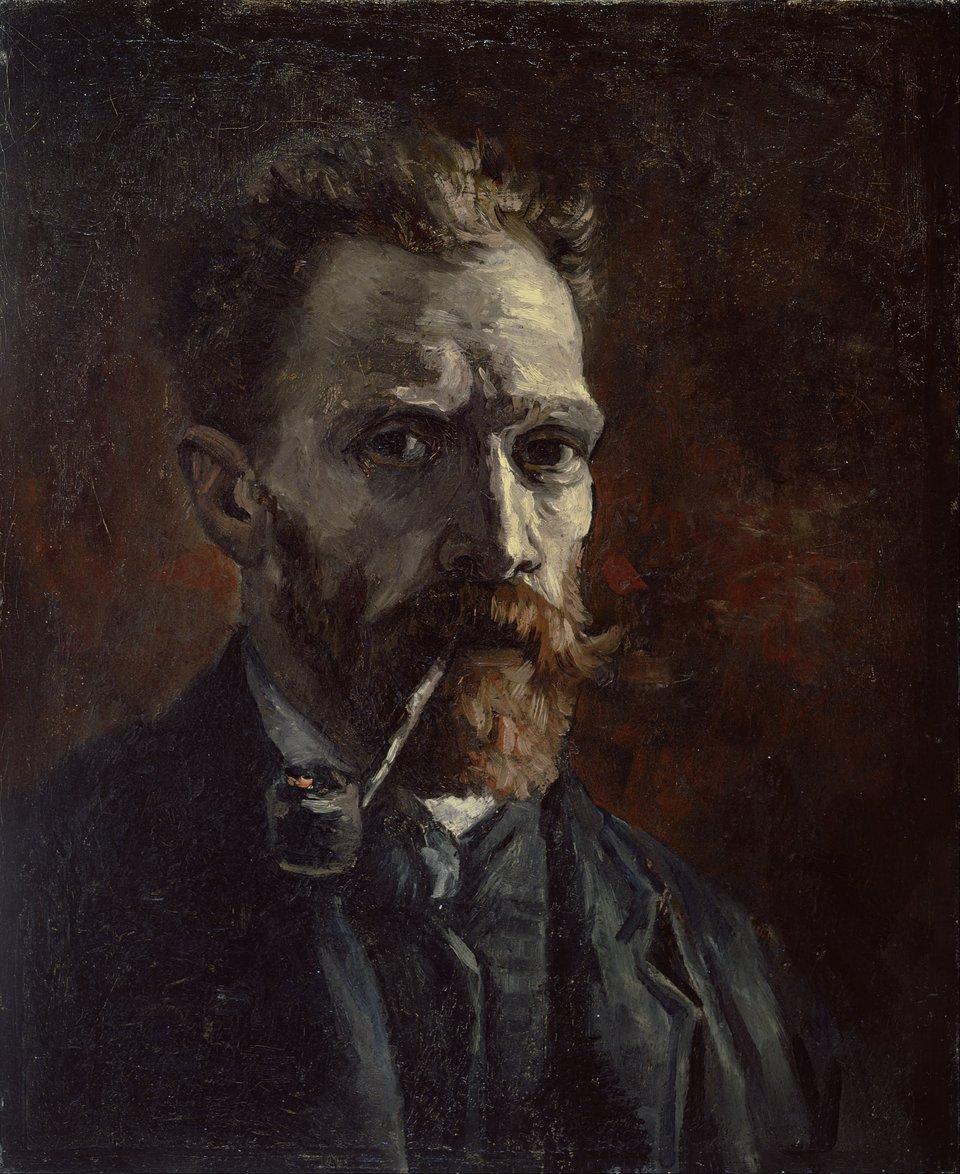 Autoportret zfajką Źródło: Vincent van Gogh, Autoportret zfajką, 1886, olej na płótnie, domena publiczna.