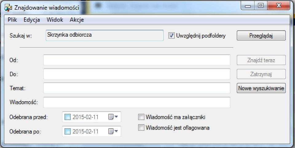 Okno wyszukiwania wiadomości na podstawie określonych atrybutów