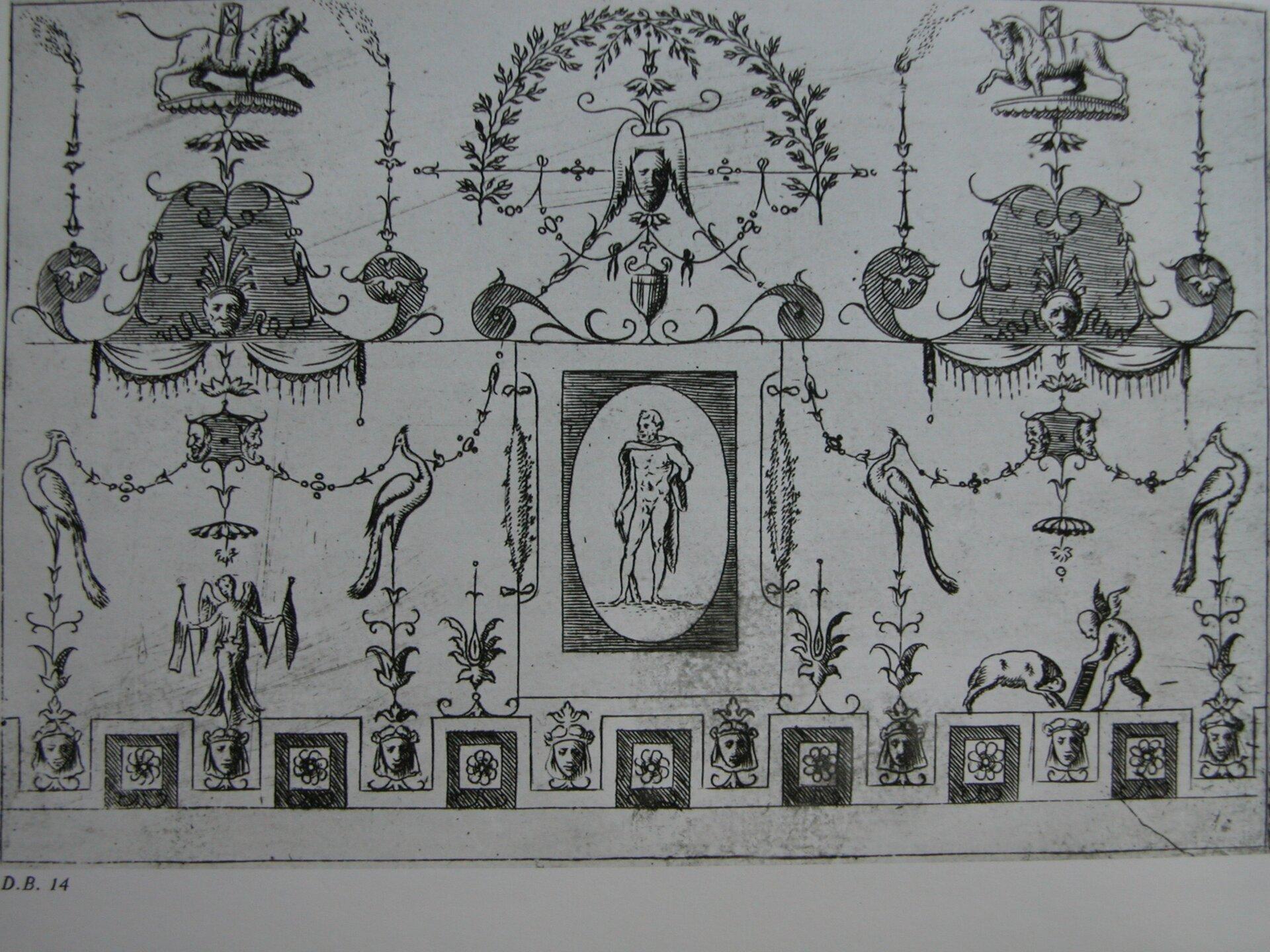 Ilustracja przedstawia groteski rzymskiego pałacu cesarza Nerona - Domus Aurea. Na fotografii widzimy narysowane różne postaci, atakże zwierzęta. Dookoła widoczna są liczne zdobienia takie jak: gałązki, zawijasy.