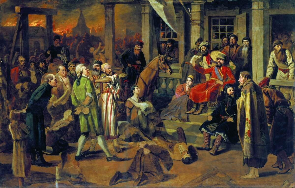 """Sąd Pugaczowa Wasilij Pierow, obraz """"SądPugaczowa"""" (1875), na którym ukazano wymierzanie sprawiedliwości przez Pugaczowa; widzimy postawionych przed sądem ludzi zamożnych ibiedny lud, wimieniu którego Pugaczowwymierza sprawiedliwość Źródło: Wasilij Pierow, Sąd Pugaczowa, 1875, domena publiczna."""