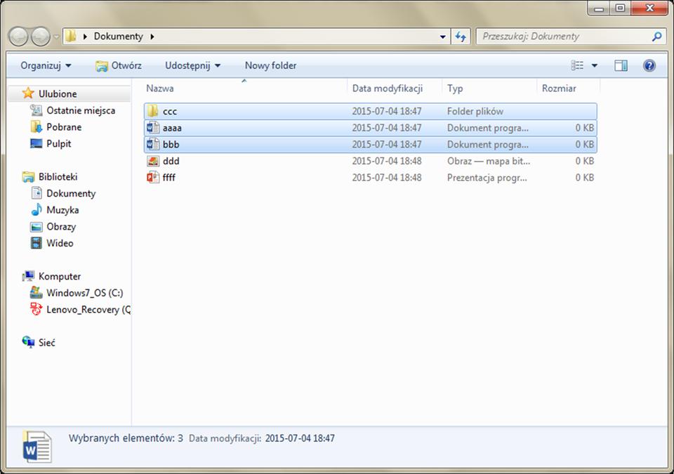 Animacja: Zaznaczanie plików wsystemie Windows