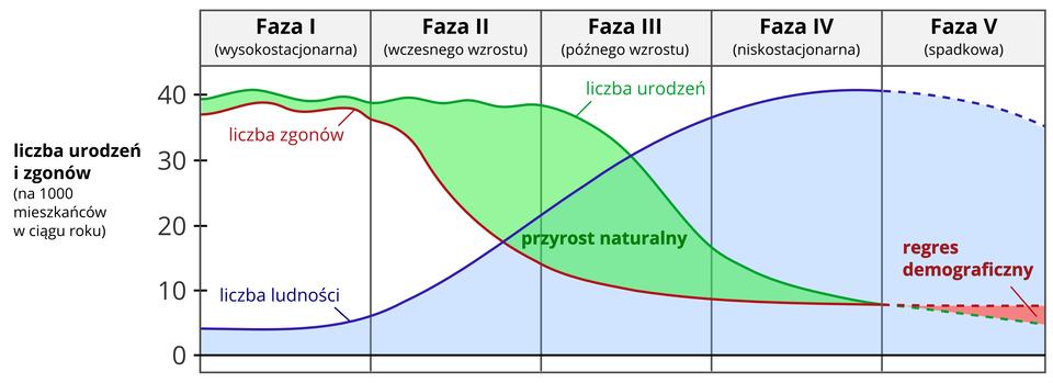 Na ilustracji wykres. Na osi pionowej zlewej strony wartości od zera do czterdziestu podpisane jako liczba urodzeń izgonów na tysiąc mieszkańców wciągu roku. Na osi poziomej wykres podzielony na pięć równych pasów. Na górze podpisane pięć faz. Wykres przedstawia zmiany współczynnika urodzeń izgonów. Faza pierwsza – liczba urodzeń wyrównuje się zliczbą zgonów. Faza druga – zmniejszenie liczby zgonów. Faza trzecia – na początku tej fazy przyrost jest duży imaleje wraz zdążeniem do kolejnej fazy. Faza czwarta – liczba zgonów jest niewielka. Faza piąta – przyrost zmniejsza się do liczby zgonów, apod koniec fazy liczba zgonów przewyższa urodzenia. Przyrost naturalny ujemny.
