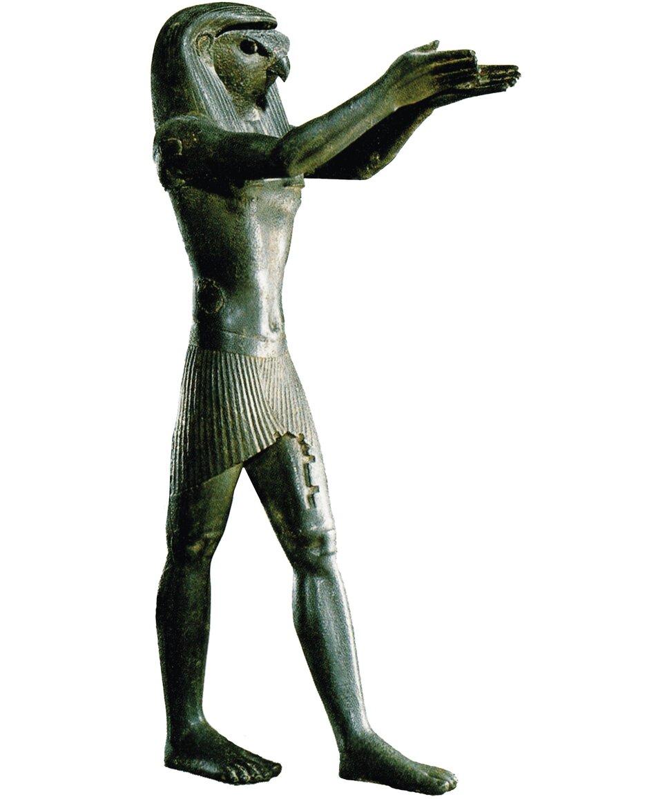 Horus, bóg Słońca. Posąg obecnie znajduje się wLuwrze wParyżu Horus, bóg Słońca. Posąg obecnie znajduje się wLuwrze wParyżu Źródło: Musée du Louvre.