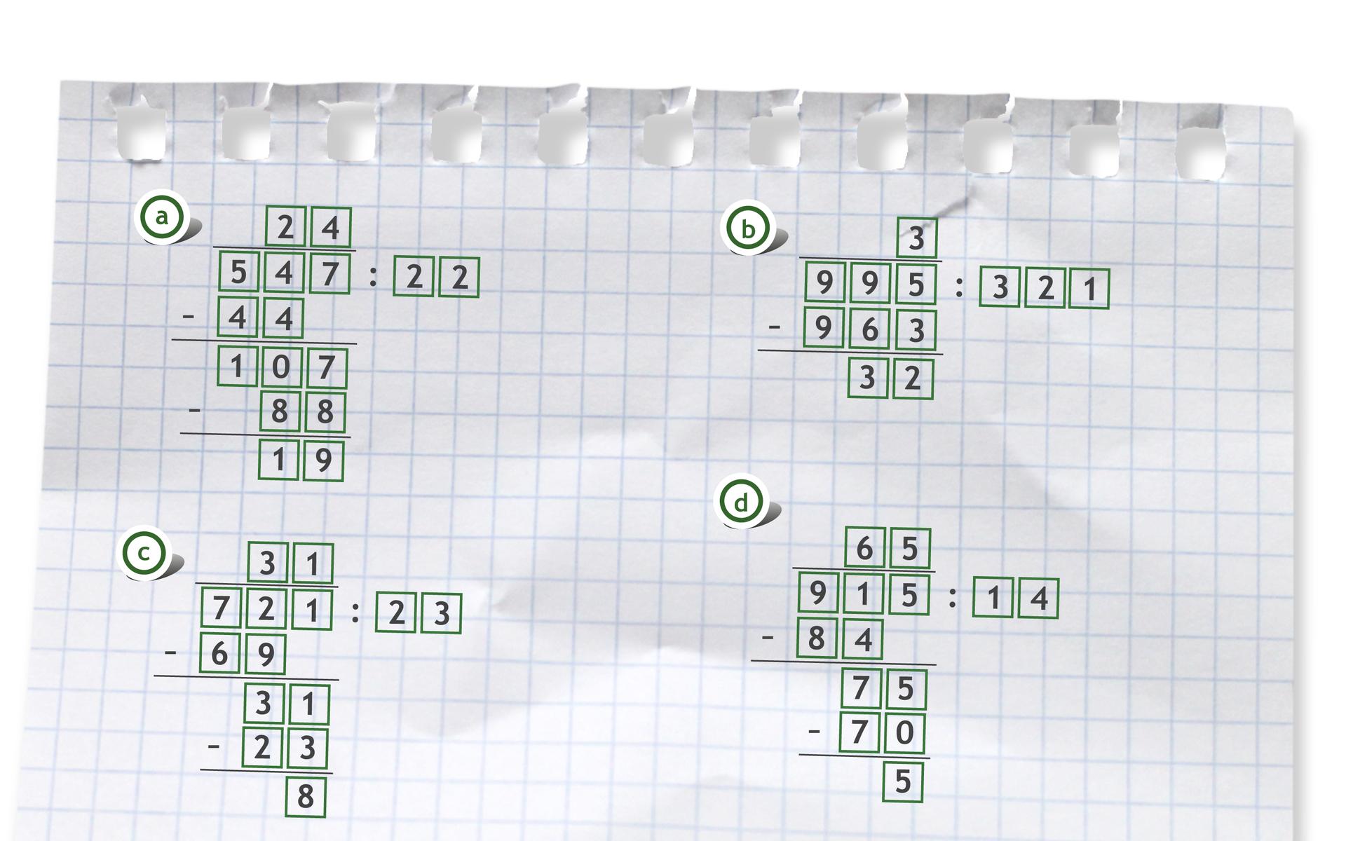 """""""Przykłady czterech działań pisemnych: 547 dzielone przez 22 =24 r19"""