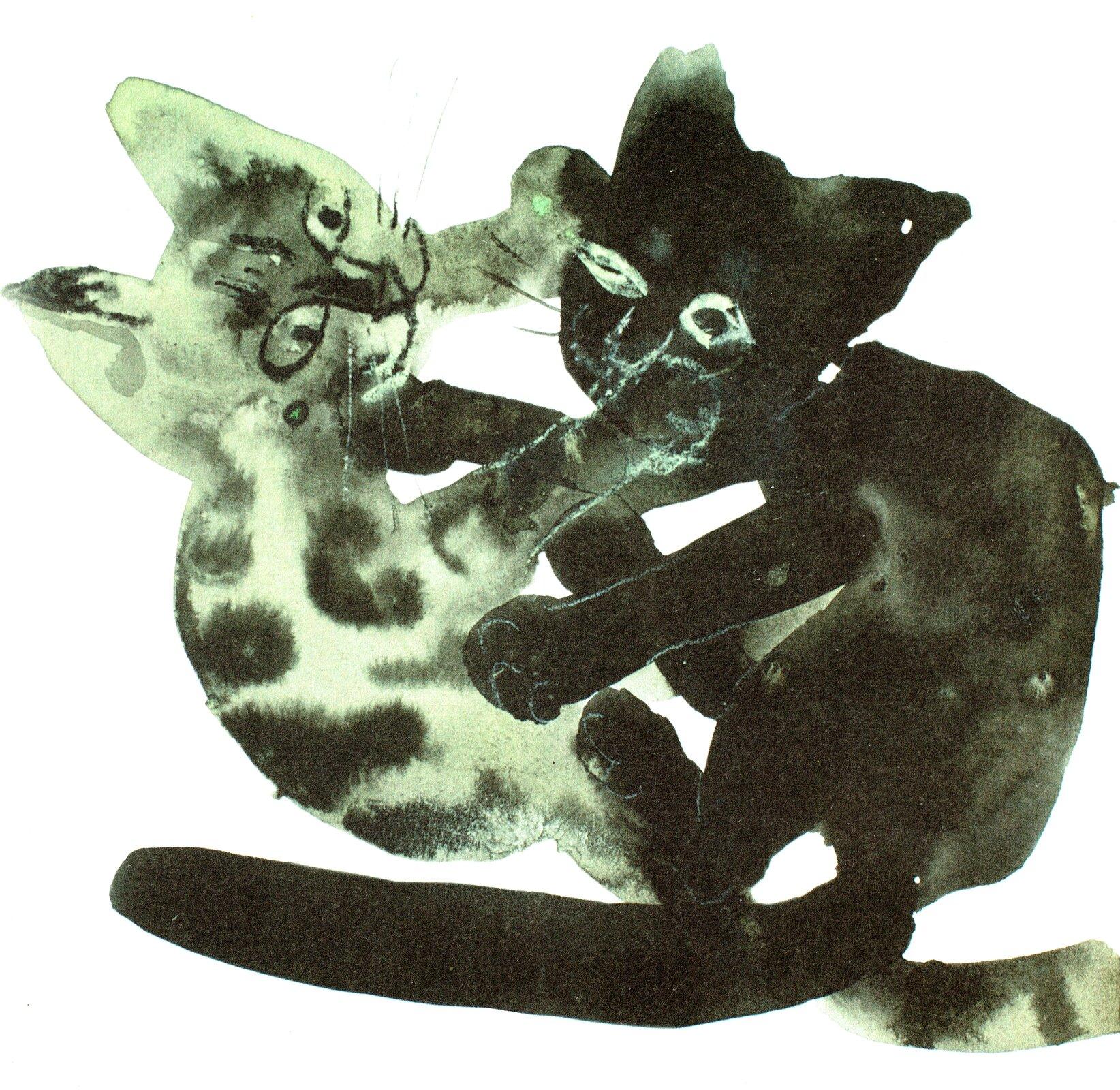 """Ilustracja przedstawia pracę Józefa Wilkonia zksiążki """"Kici kici miau"""". Ukazuje dwa bawiące się ze sobą koty. Jeden kot jest szary wczarne plamy, adrugi cały czarny."""