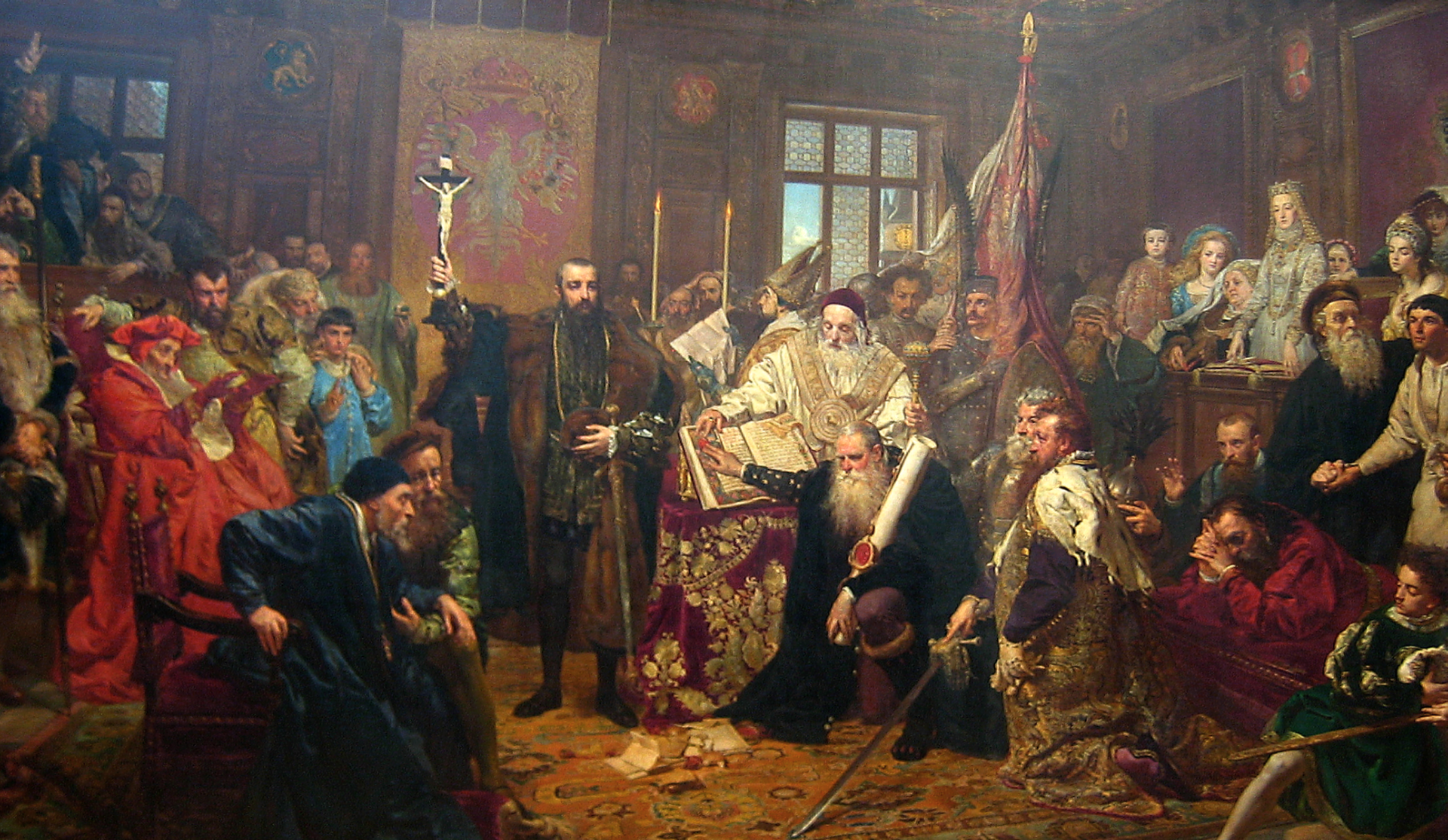 Unia Lubelska JanMatejko dostał zlecenie namalowanie obrazu wzwiązku zobchodami 300-lecia unii lubelskiej Źródło: Jan Matejko, Unia Lubelska, 1869, olej na płótnie, Muzeum Narodowe wLublinie, domena publiczna.