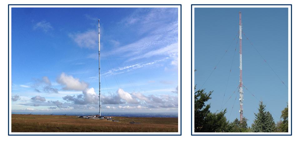 Dwa zdjęcia masztów antenowych zodciągami.