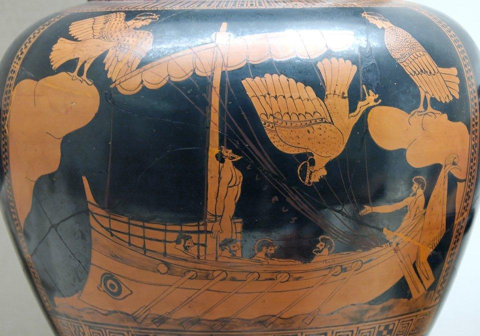 Grecka wazaprzedstawiająca Odyseusza iSyreny Grecka wazaprzedstawiająca Odyseusza iSyreny Źródło: Autor nieznany, ok. 480-470 p.n.e., British Museum, Londyn, domena publiczna.