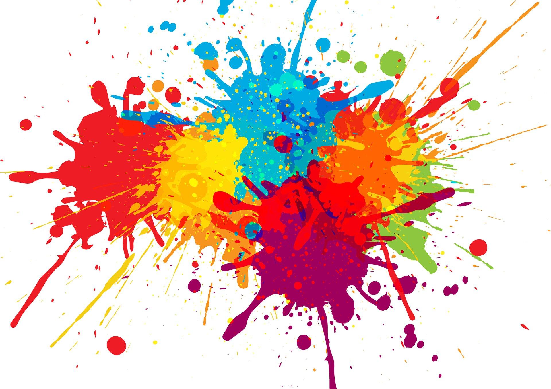 Ilustracja przedstawia kolorowe plamy. Charakteryzują się one intensywną iwyrazistą kolorystyką. Na fotografii przeważa kolor czerwony, pomarańczowy, fioletowy oraz niebieski.