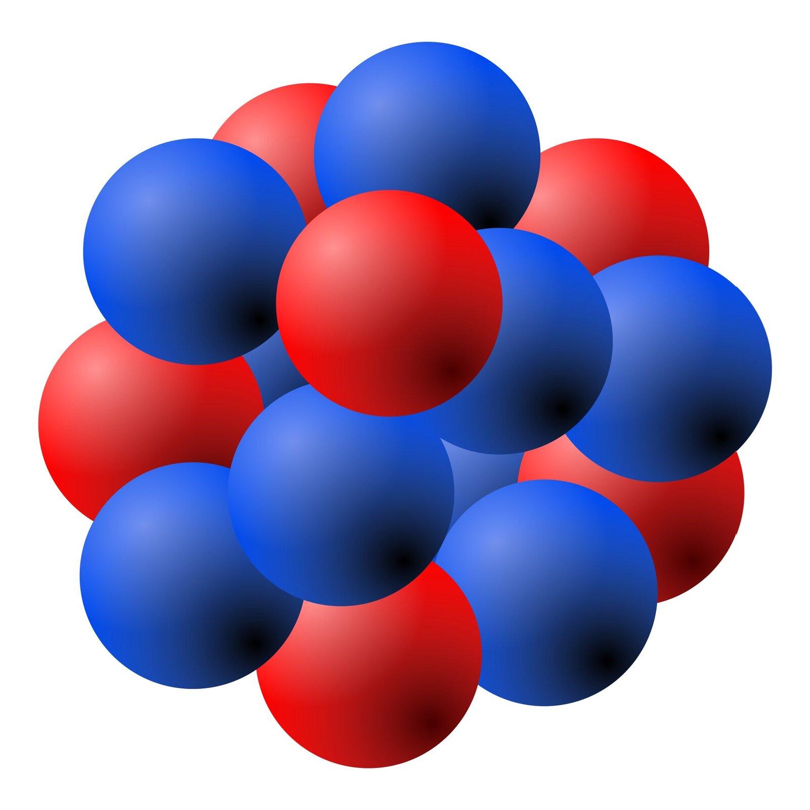 Rysunek przedstawia model jądra atomu składający się zsześciu czerwonych kul symbolizujących protony idziewięciu niebieskich kul symbolizujących elektrony. Kule te są ściśnięte ze sobą tworząc obiekt wprzybliżeniu kulisty, ale onieregularnej powierzchni.