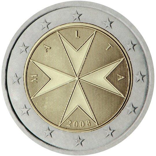 Ilustracja przedstawia rewers monety. Po środku krzyż rycerski iotaczający je napis: Malta. Pod spodem data dwa tysiące osiem. Wszystko otacza dwanaście gwiazd.
