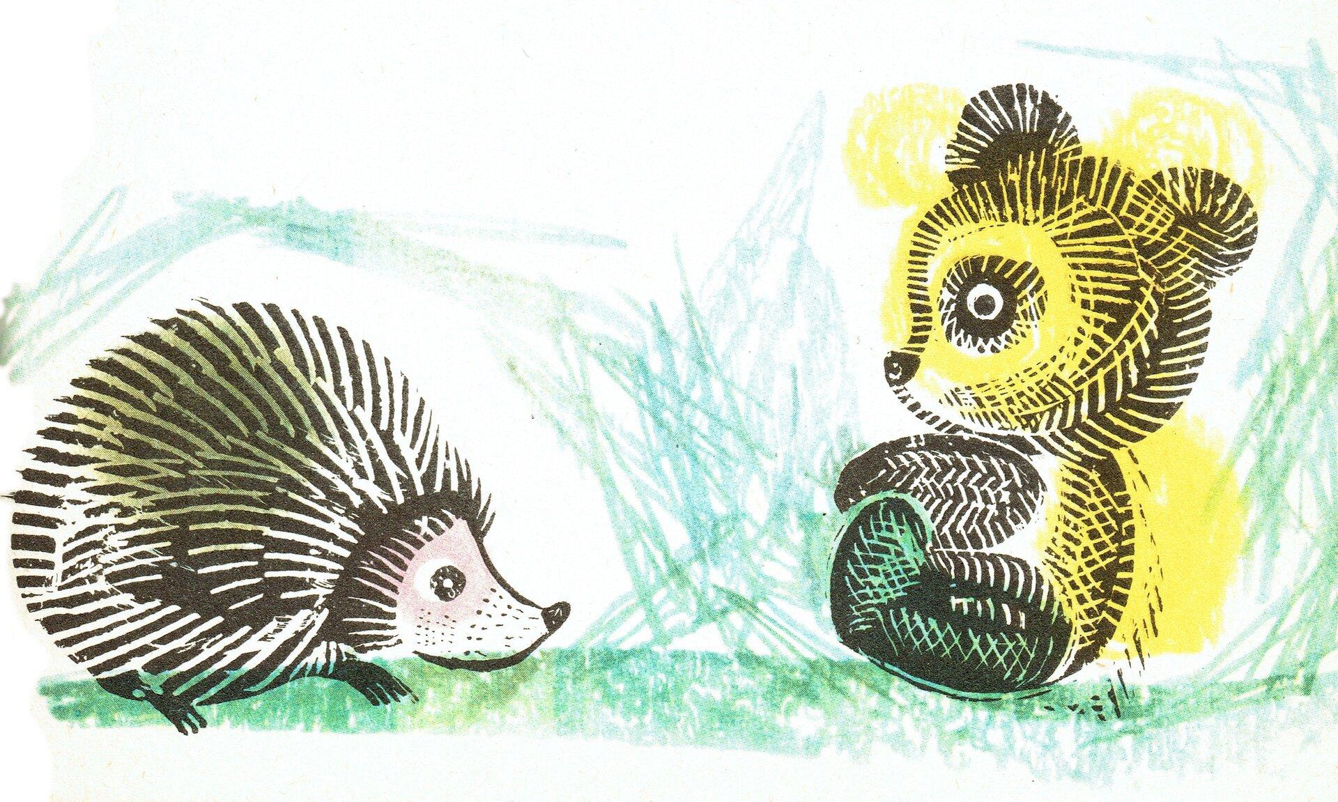 """Ilustracja przedstawia grafikę zksiążki dla dzieci Janiny Porazińskiej """"Pamiętnik Czarnego Noska"""", na której znajduje się miś oraz jeż. Oboje siedzą na trawie. Otoczeni są zielenią."""