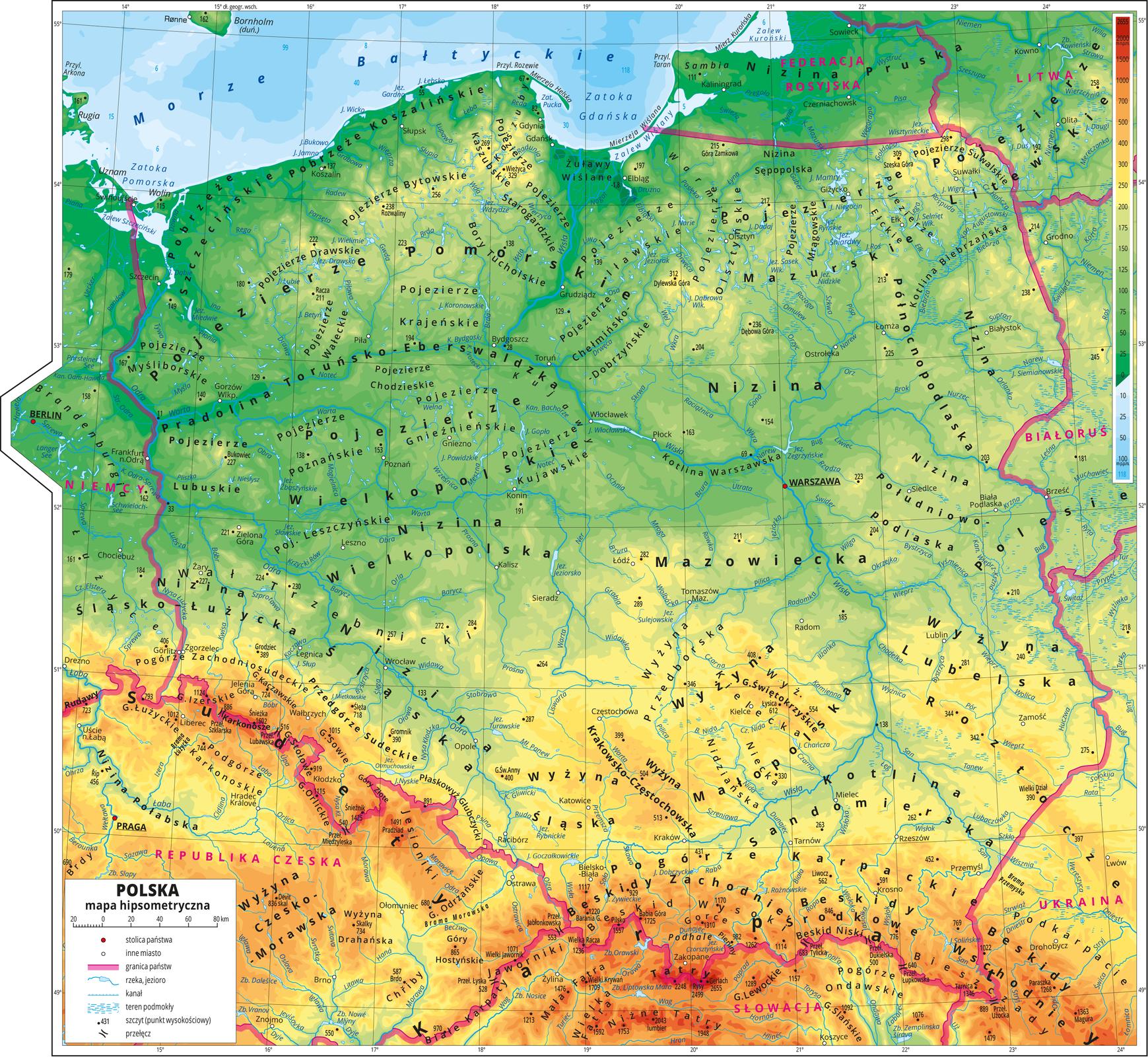 Mapa Polski zzaznaczonymi wysokościami terenu za pomocą barw: niziny – zielona, wyżyny -żółta, brązową, góry - czerwona.