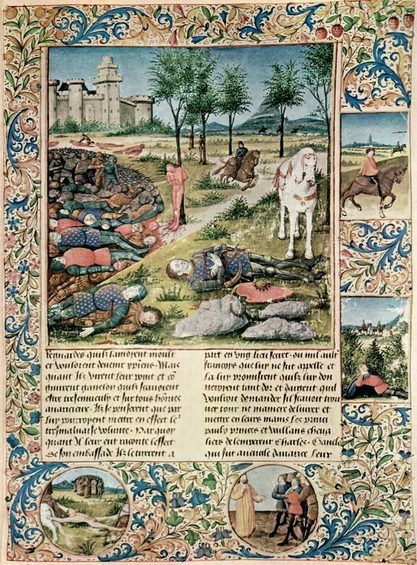 Śmierć Rolanda, [w:] Sébastien Mamerot, Histoire et Faits des Neuf Preux et des Neufs Preues Śmierć Rolanda, [w:] Sébastien Mamerot, Histoire et Faits des Neuf Preux et des Neufs Preues Źródło: Jean Colombe, 1480–1489, Biblioteka Narodowa, Wiedeń, domena publiczna.