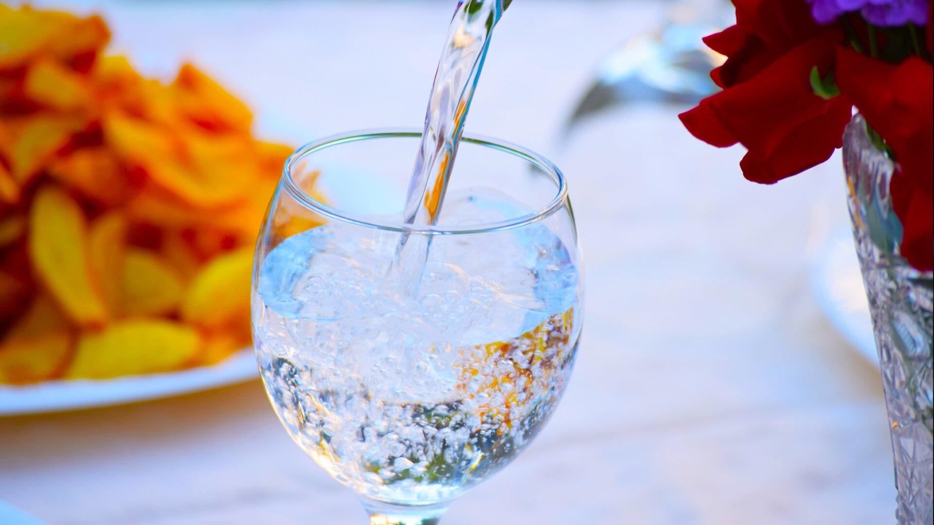 Ilustracja przedstawia nalewanie wody gazowanej do kieliszka. Po lewej stronie widać talerz zjedzeniem. Prawdopodobnie są to frytki. Po prawej stronie znajduje się kryształowy wazon zkwiatami.