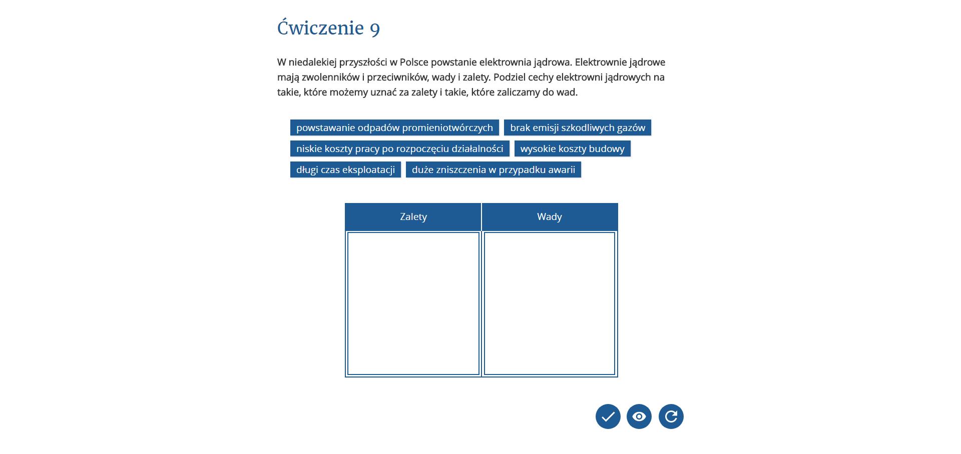 Alternatywa statyczna dla interaktywnego ćwiczenia multimedialnego