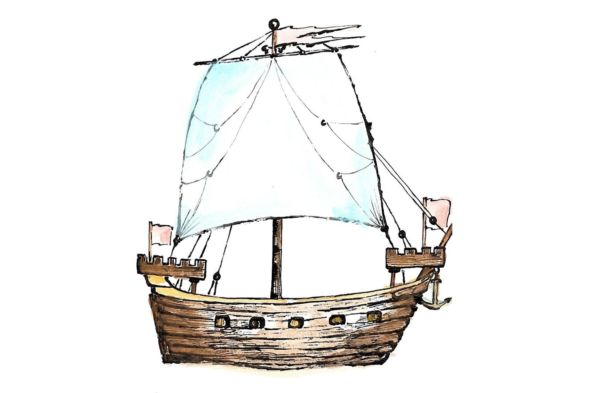 Rysunek łodzi zpółnocnej Europy.