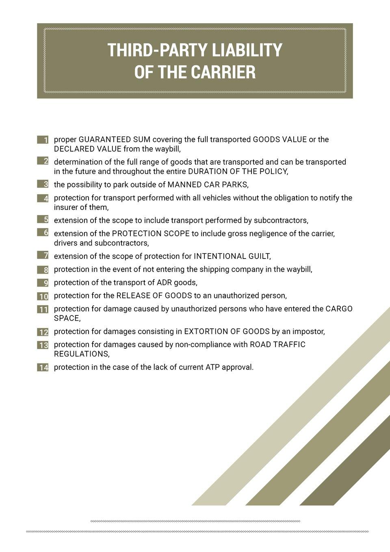 The document shows key elements that need to be in the contract, according to the specification of the transport. Grafika przedstawia kluczowe elementy, które zgodnie ze specyfikacją wykonywanych przewozów powinny znaleźć się wumowie.