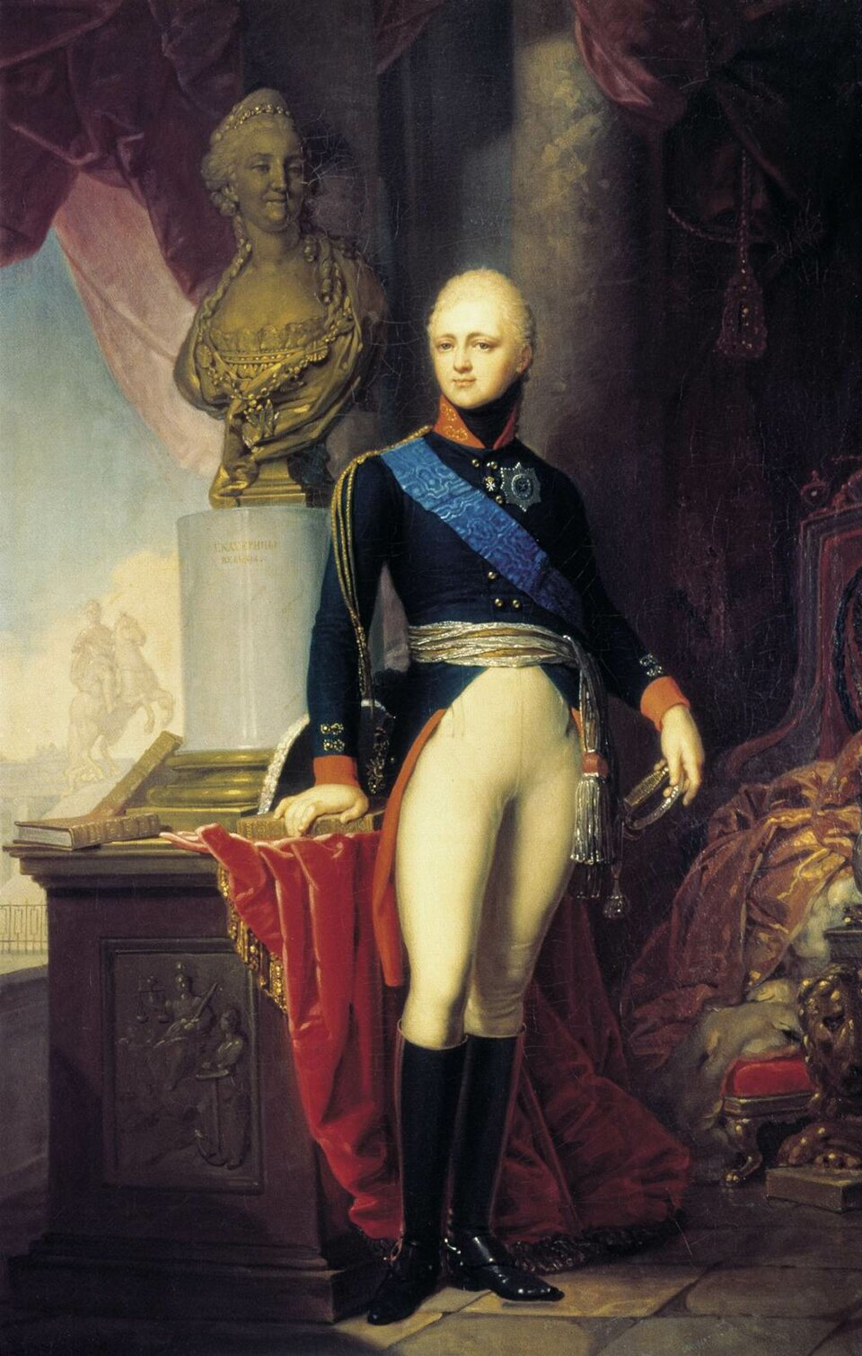 Car Aleksander IŹródło: Vladimir Borovikovsky, Car Aleksander I, 1800, domena publiczna.