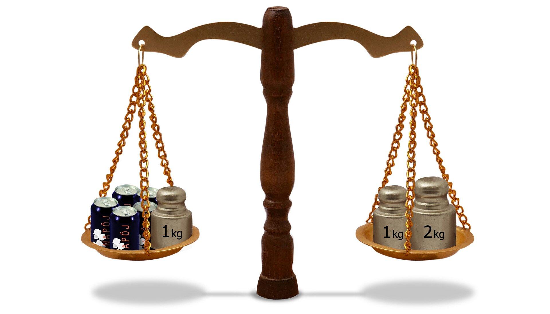 Rysunek wagi szalkowej. Na jednej szalce 5 puszek znapojami iodważnik 1 kg, na drugiej dwa odważniki 1 kg i2 kg.