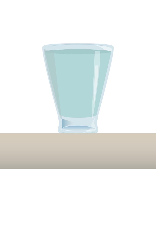 Pokaz slajdów składający się z: 1. szklanka stojąca na stole, 2. szklanka + wektor Fg, 3. szklanka + wektor Fg + wektor Fn, 4. szklanka + wektor Fg + wektor Fn + wektor Fs.