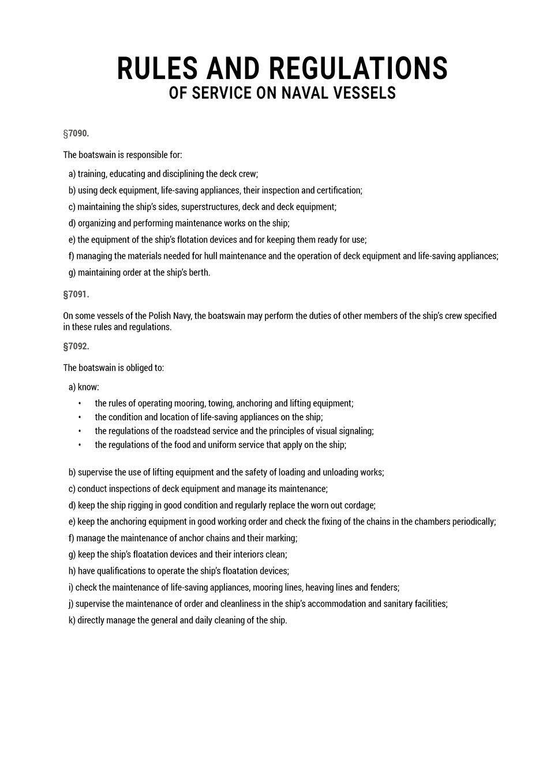 The document presents an excerpt from the rules and regulations of service on naval vessels. Dokument przedstawia fragment regulaminu służby na okrętach marynarki wojennej.