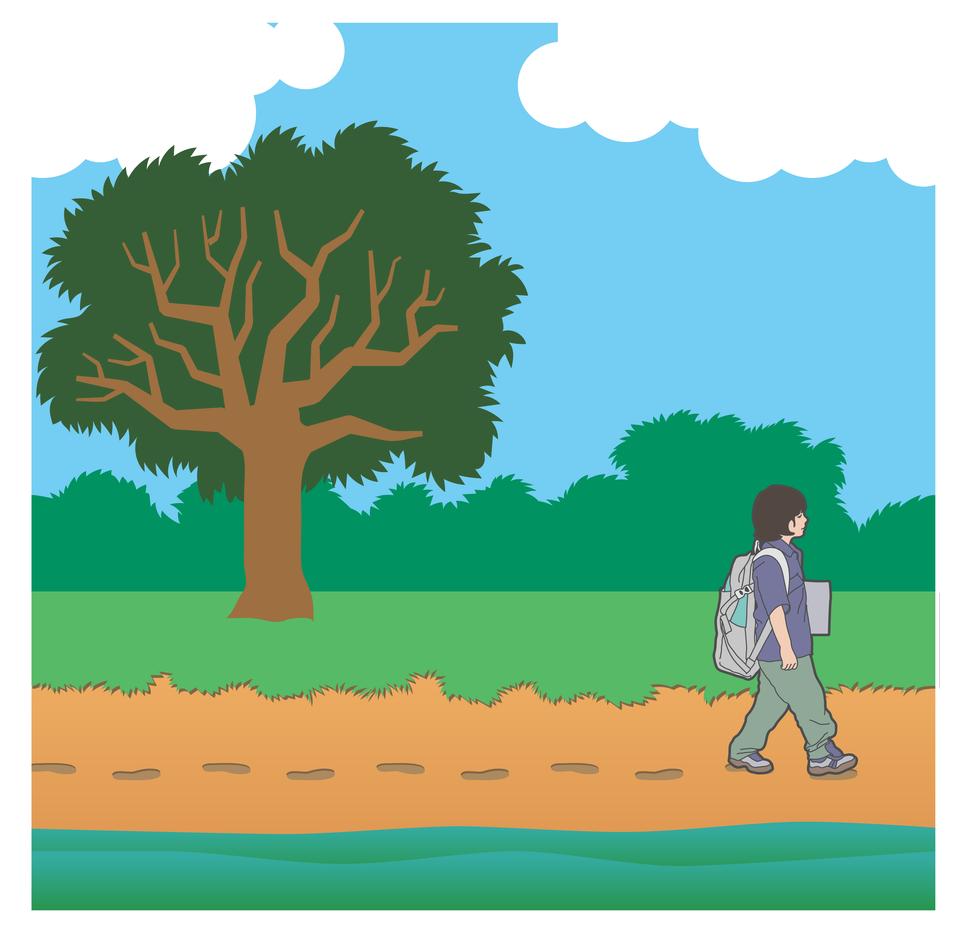 Ilustracja przedstawia pierwszy etap dokonywania pomiaru odległości metodą liczenia kroków: wyznaczanie odcinka ookreślonej długości, to jest policzenie kroków.