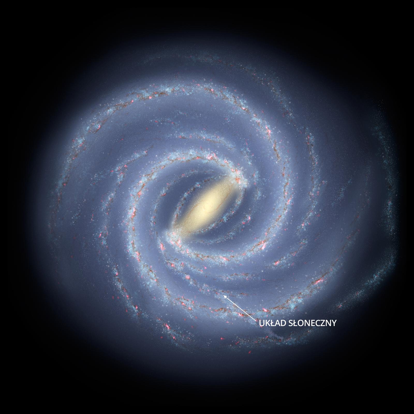 Grafika prezentuje wygląd galaktyki Drogi Mlecznej. Galaktyka prezentowana od góry ma kształt spiralny, wjej centrum znajduje się jadro. Wpołowie jej szerokości zaznaczono Układ Słoneczny.