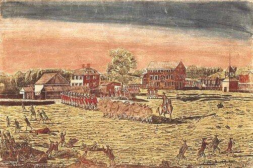 Potyczka pod Lexington Źródło: Amos Doolittle, Ralph Earl, Potyczka pod Lexington, 1775, domena publiczna.