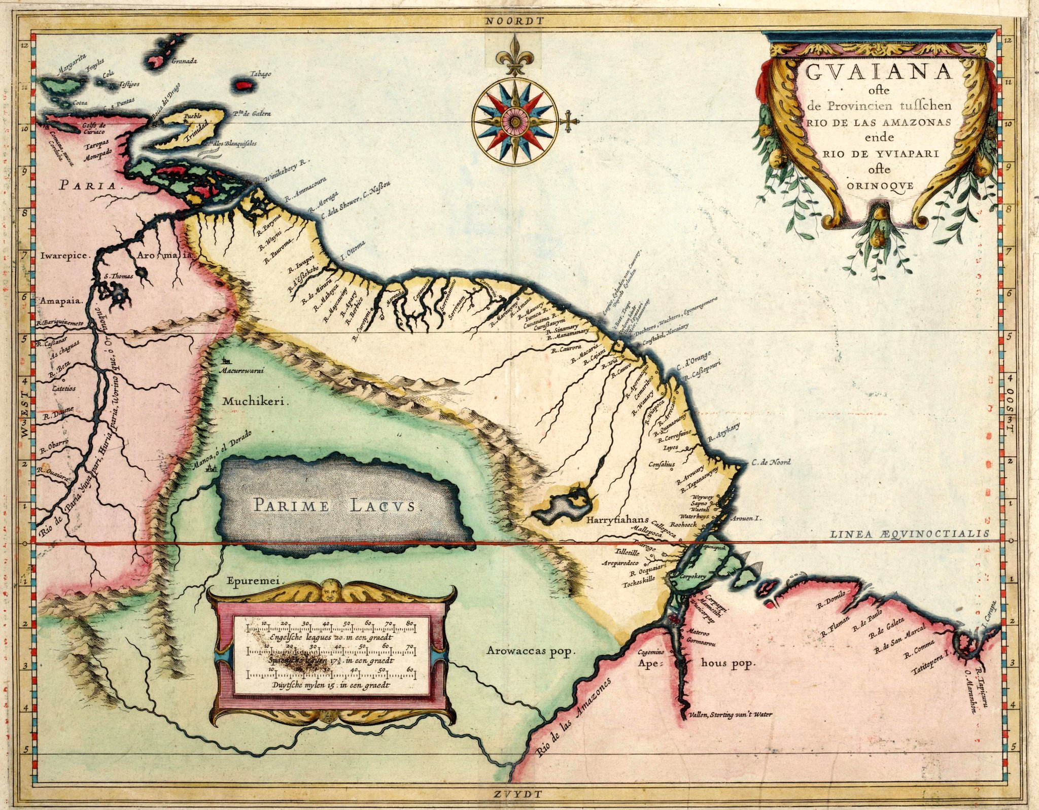 Według XVII-wiecznego holenderskiego kartografa jezioro Parima imiasto El Dorado znajdowały się właśnie tu – mapa z1625 roku Według XVII-wiecznego holenderskiego kartografa jezioro Parima imiasto El Dorado znajdowały się właśnie tu – mapa z1625 roku Źródło: domena publiczna.