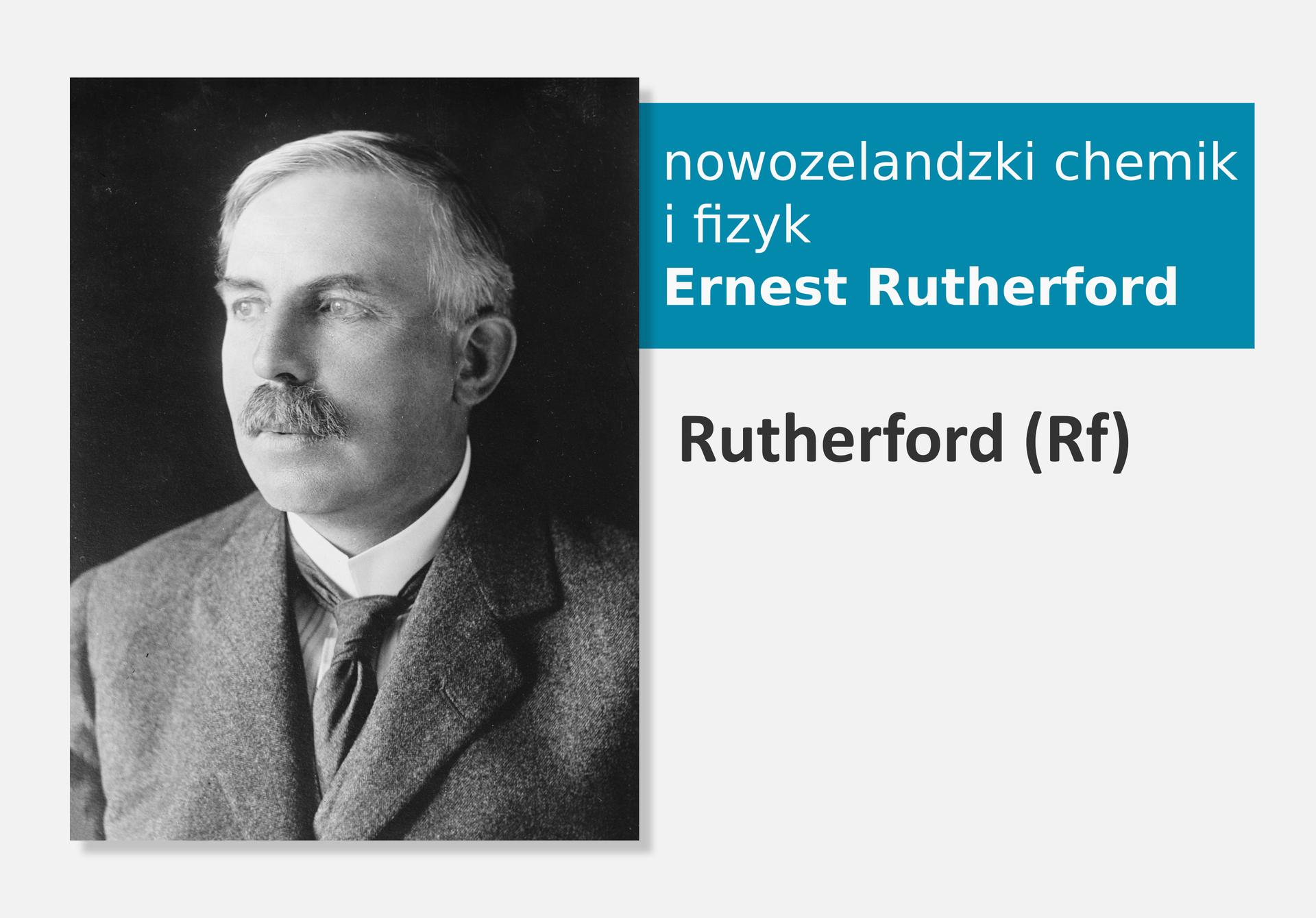 Fotografia nowozelandzkiego chemika ifizyka Ernesta Rutheforda, obok nazwa isymbol pierwiastka Rutheford (Rf)
