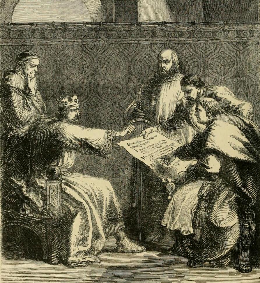 Ilustrowana historia Anglii Jan bez Ziemi, król Anglii, odmawia podpisania Wielkiej Karty Swobód podczas pierwszego jej przedłożenia. Podpisał ją niedługo później, bo wczerwcu 1215 roku. Ceremonia odbyła się naRunnymede– łące nadTamizą, usytuowanej kilka kilometrówodWindsoru. Źródło: John Cassel, Ilustrowana historia Anglii, 1902, domena publiczna.