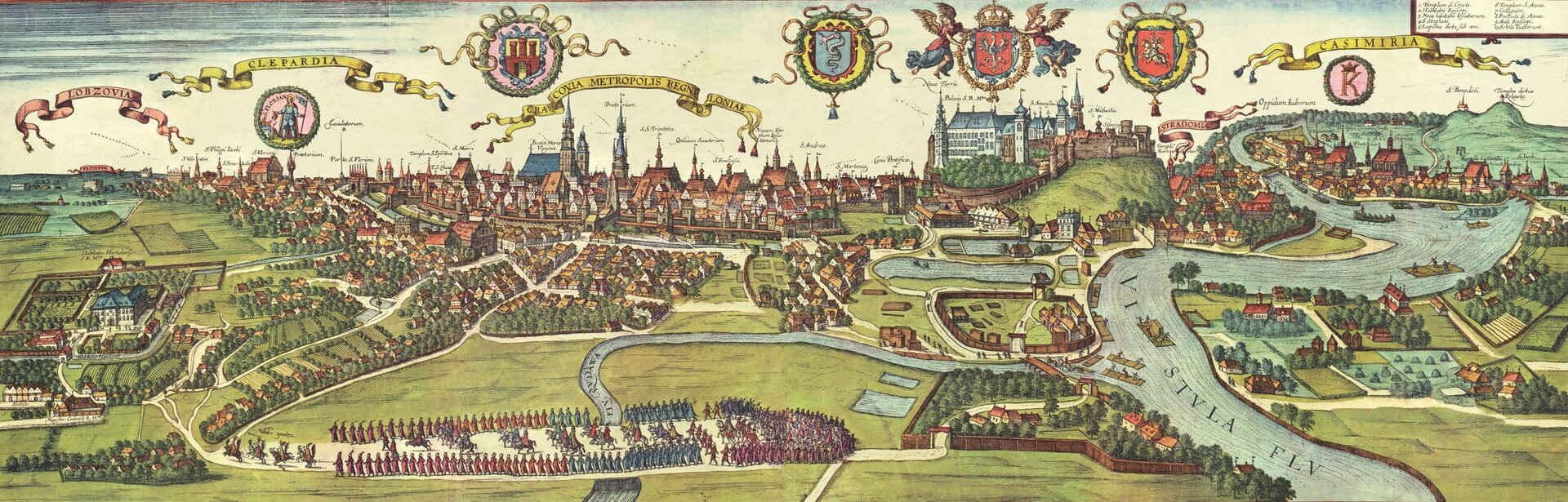 Widok Krakowa, Stradomia, Kleparza, Kazimierza iŁobzowa zatlasu z1618 roku
