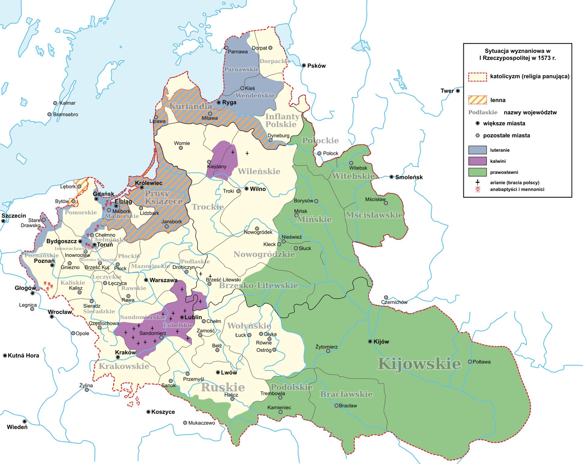 Sytuacja wyznaniowa wIRzeczypospolitej w1573 roku Sytuacja wyznaniowa wIRzeczypospolitej w1573 roku Źródło: Hoodinski, licencja: CC BY 3.0.
