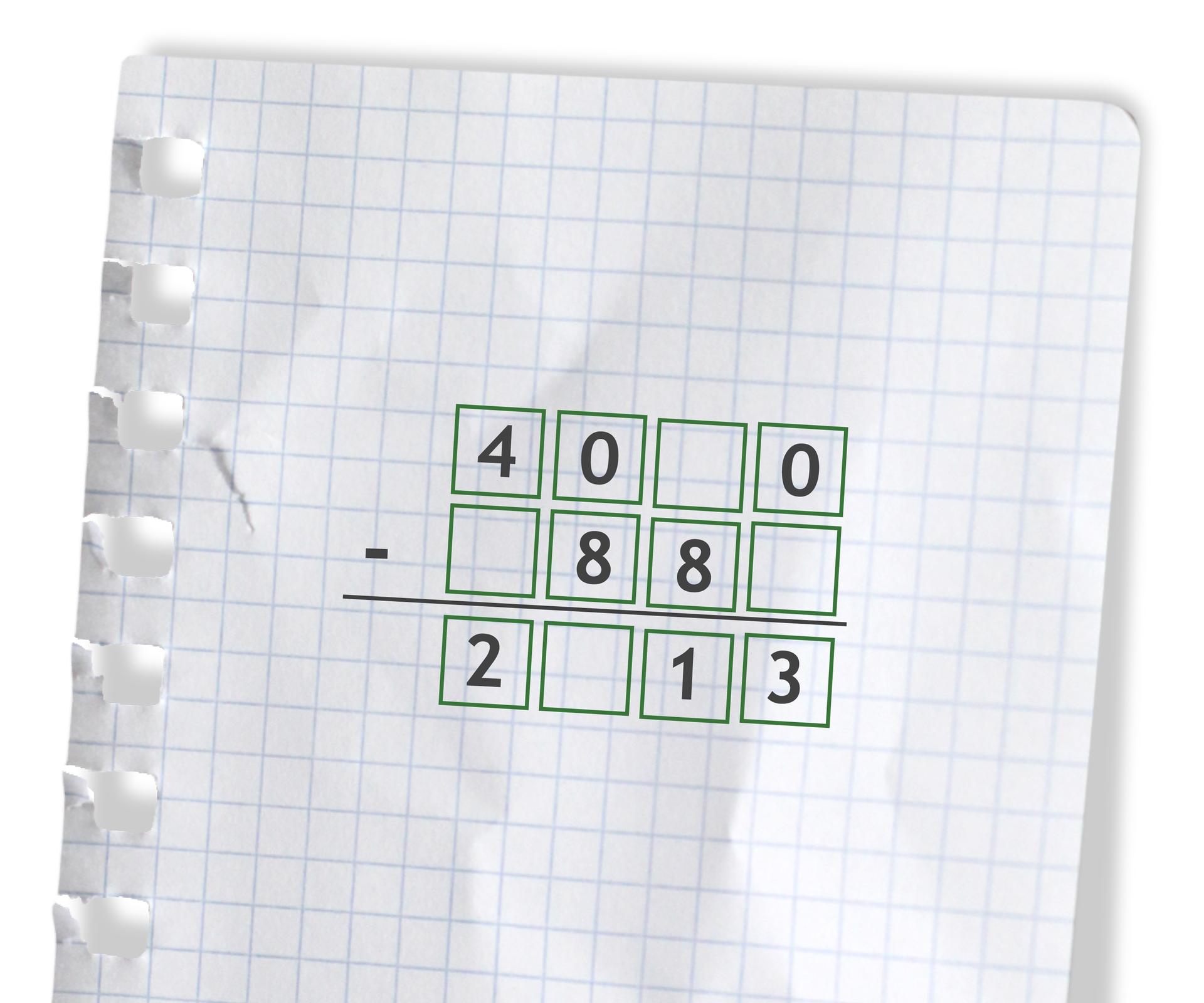 Przykład - puste do uzupełnienia cyframi: 40 puste 0 odjąć puste 88 puste =2 puste 13.