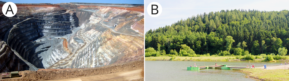 Dwa zdjęcia, pierwsze przedstawia teren zniszczony działalnością gospodarczą, drugie przykład efektów rekultywacji terenu.