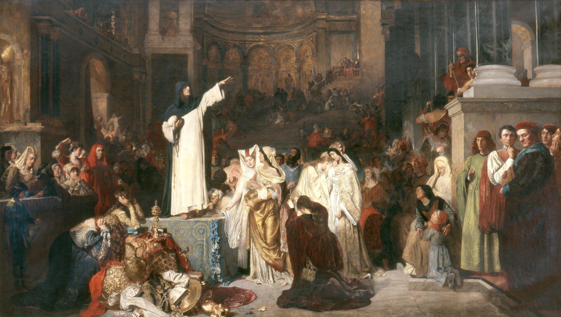 Savanarola głoszący kazanie przeciwko rozrzutności Źródło: Ludwig von Langenmantel, Savanarola głoszący kazanie przeciwko rozrzutności, 1879, domena publiczna.