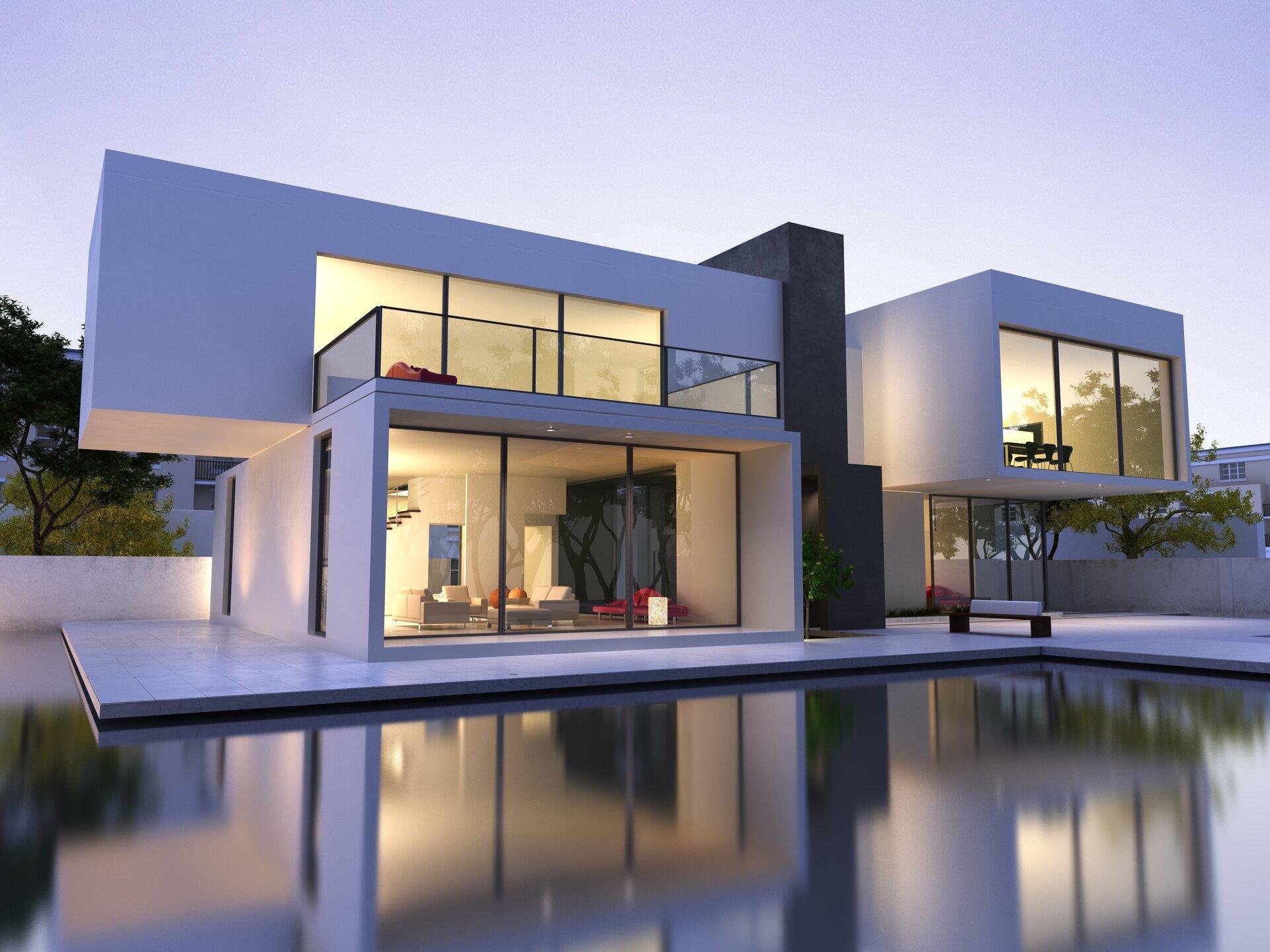 """""""Ilustracja przedstawia trójwymiarową wizję komputerową projektowanego budynku. Na zdjęciu widzimy dom wraz ztarasem. Widoczne są duże oszklone ściany budynku. Jest on wkolorze białym. Przez oszklone ściany widoczne jest urządzone wnętrze domu. Dom ma dwa piętra, ana piętrze znajduje się taras. Na ilustracji umieszczony jest niebieski pulsujący punkt. Po kliknięciu kursorem myszki wyświetlą się dodatkowe informacje."""""""