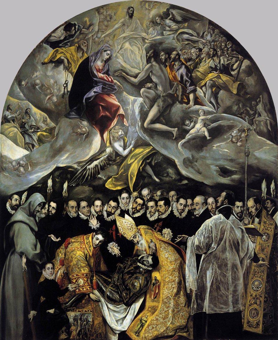 Pogrzeb hrabiego Orgaza Źródło: El Greco, Pogrzeb hrabiego Orgaza, 1586-1588, olej na płótnie, domena publiczna.