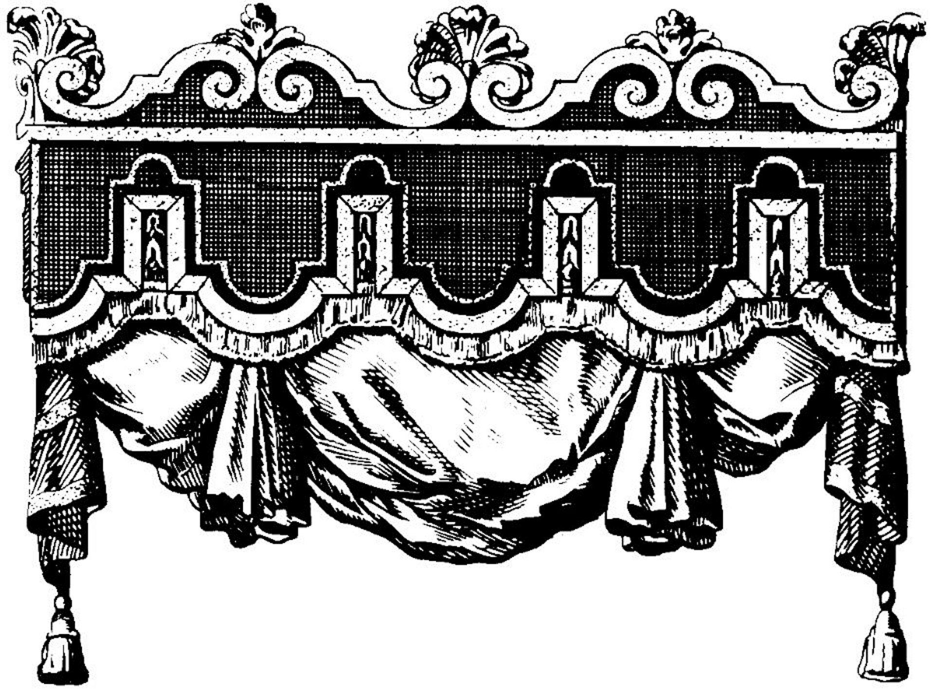 Ilustracja przedstawiająca ornament – lambrekin. Element dekoracyjny naszkicowany jest czarnym kolorem bez wypełenień. Ornament kształtem przypomina baldachim - dekoracyjny element, który można znaleźć czasami nad łóżkiem, zktórego wystaje tkanina.
