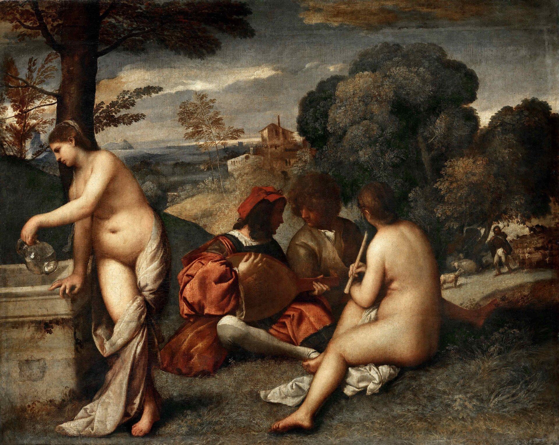 """Ilustracja okształcie poziomego prostokąta przedstawia obraz Giorgione """"Koncert wiejski"""". Dzieło ukazuje grupę ludzi na tle krajobrazu. Na polanie siedzą dwaj pastuszkowie inimfa. Kobieta trzyma wręku flet. Mężczyźni rozmawiają lub śpiewają, nie zwracając na nią uwagi. Jeden znich trzyma mandolinę. Druga nimfa stoi przy studni, jedną ręką podpiera się onią iprzelewa wodę zdzbana. Nogi ma częściowo okryte białym suknem. Po prawej stronie obrazu widoczny jest mężczyzna pasący owce. Tło wypełnia krajobraz zpagórkami porośniętymi drzewami. Woddali na wzgórzu stoi dom. Górną część wypełnia ciemne, zachmurzone niebo."""