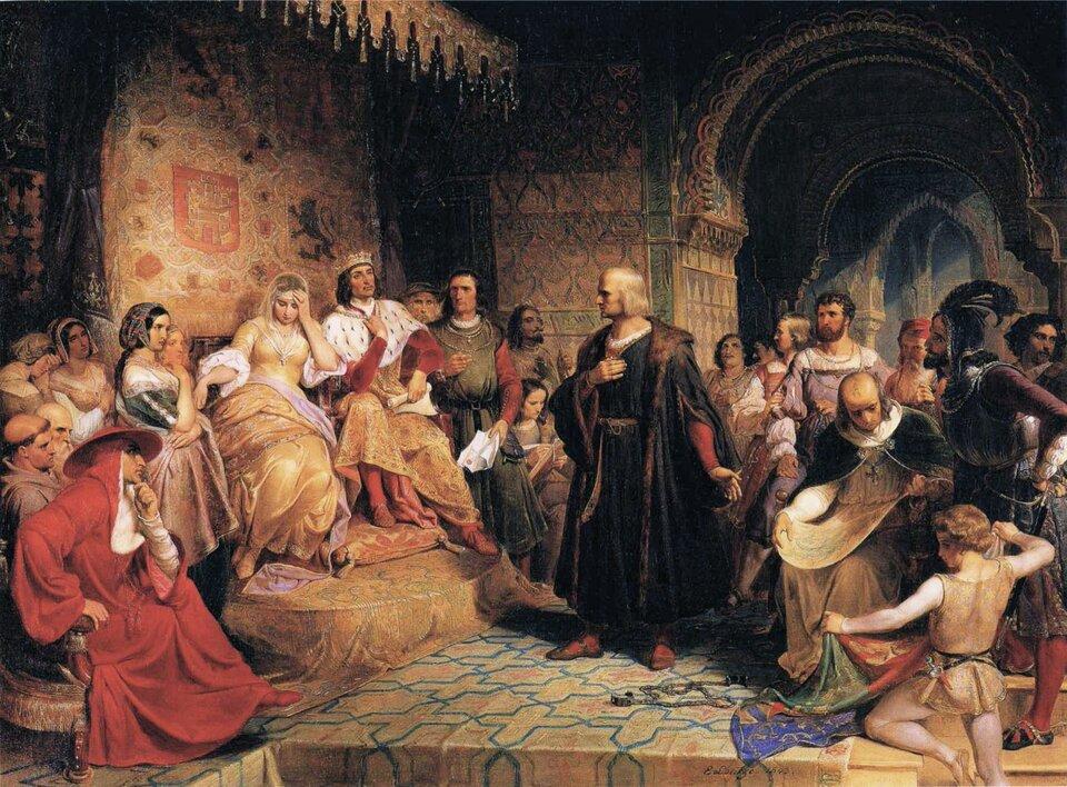 Kolumb przed królową Źródło: Emanuel Gottlieb Leutze, Kolumb przed królową, domena publiczna.
