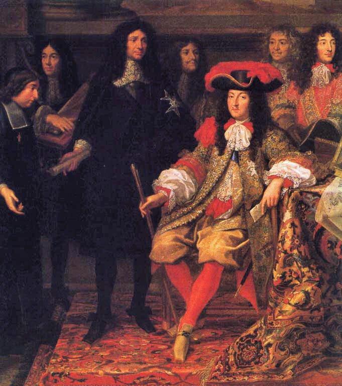 Ludwik XIV wotoczeniu członków Akademii Królewskiej Źródło: Henri Testelin, Ludwik XIV wotoczeniu członków Akademii Królewskiej, 1667, domena publiczna.