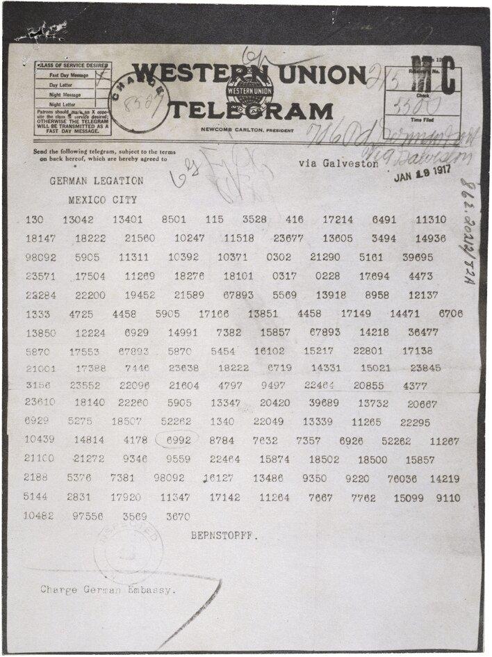 Telegram Zimmermannna Źródło: The U.S. National Archives, Telegram Zimmermannna , 1917.
