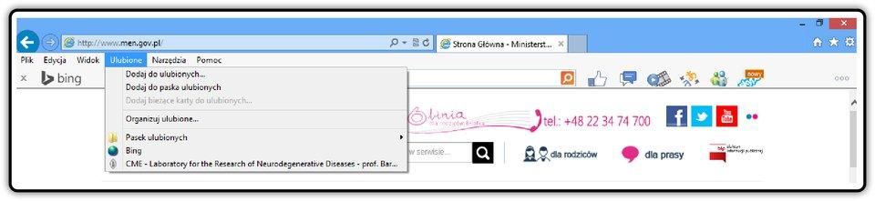Zrzut fragmentu okna przeglądarki Internet Explorer zpokazanym menu Ulubione