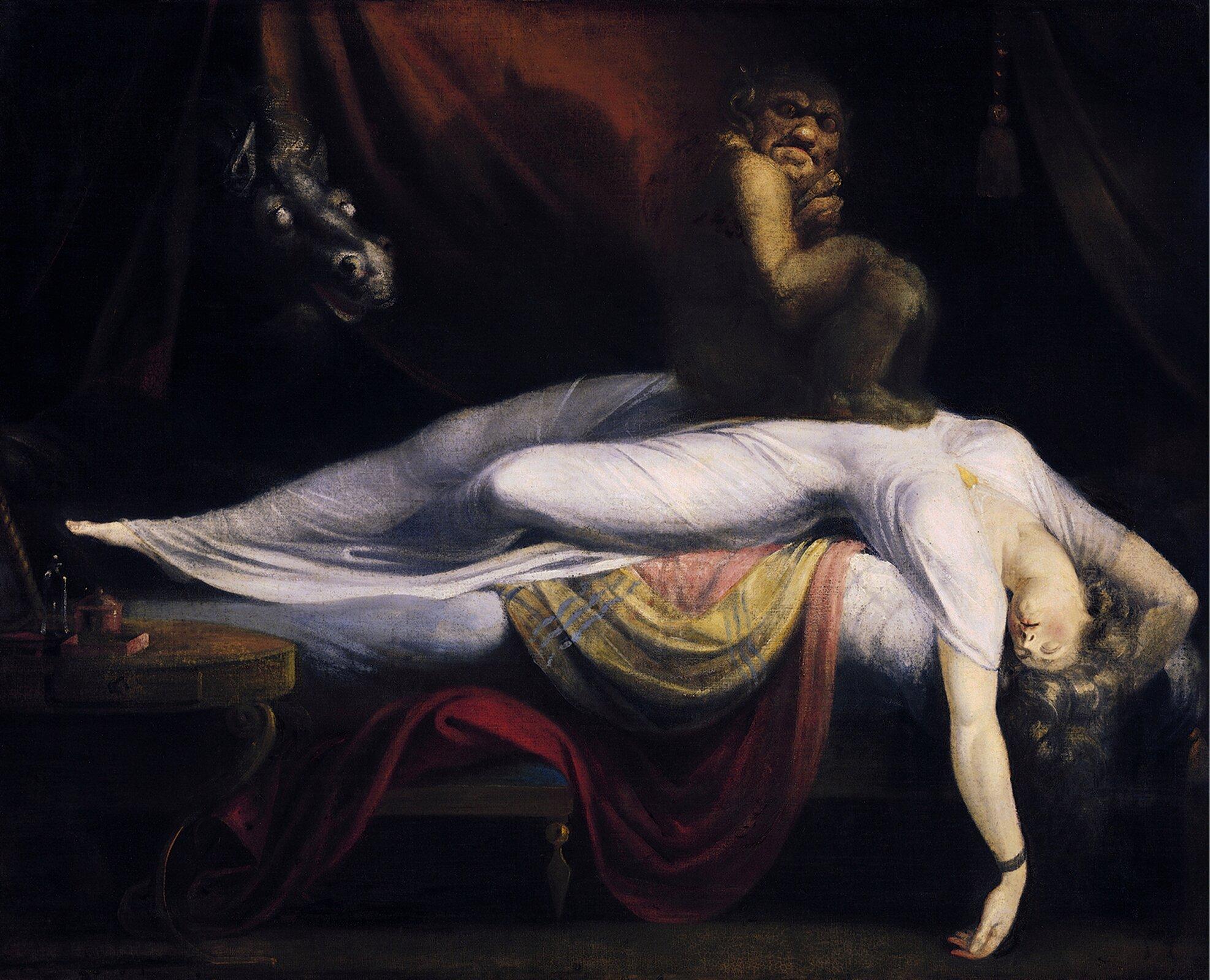 Koszmar nocny 1. Źródło: Johann Heinrich Füssli, Koszmar nocny, 1781, olej na płótnie, Institute of Fine Arts, Detroit, domena publiczna.