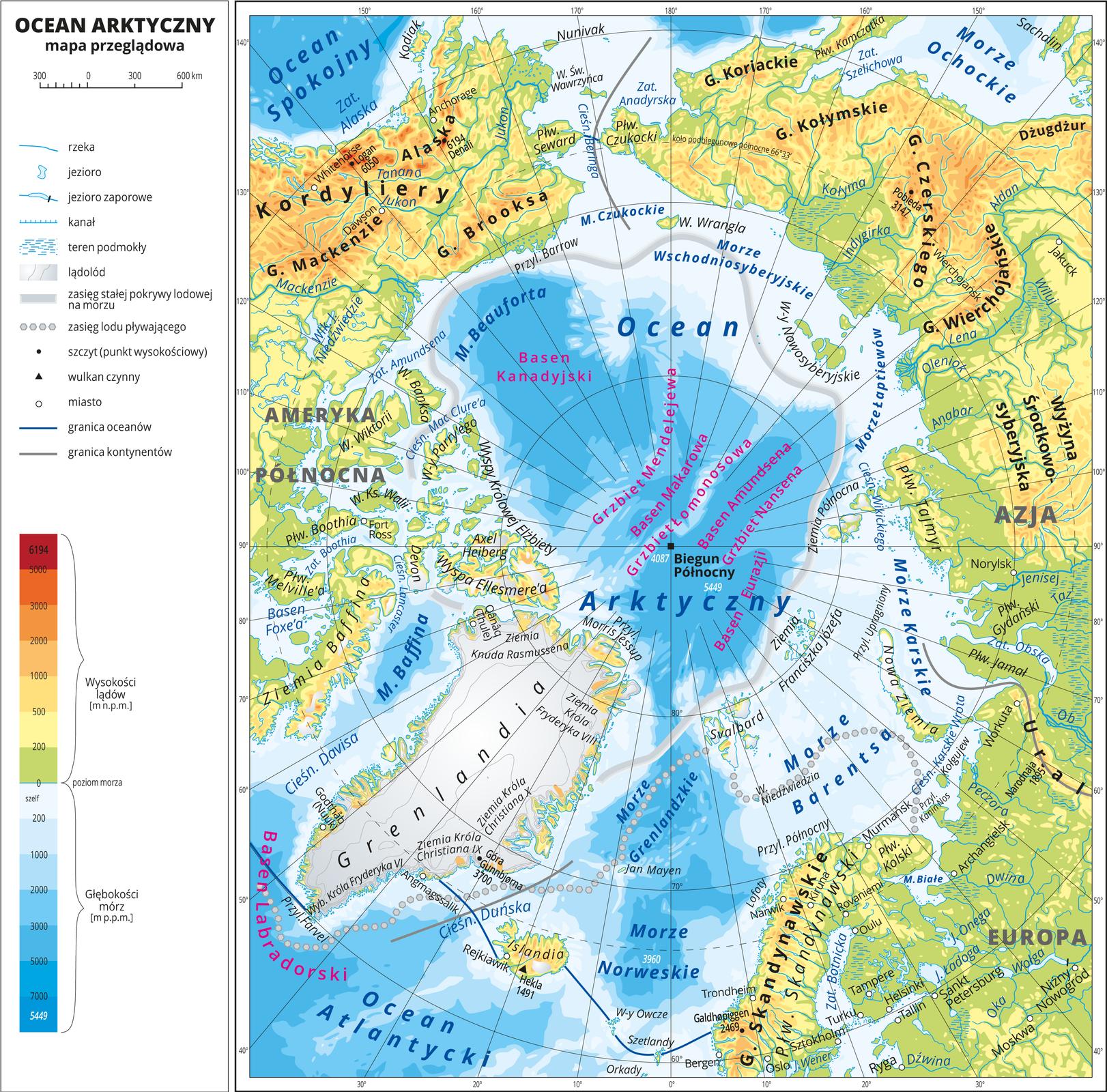 Ilustracja przedstawia mapę Oceanu Arktycznego. Wobrębie lądów występują obszary wkolorze zielonym, żółtym, pomarańczowym iczerwonym. Morza zaznaczono sześcioma odcieniami koloru niebieskiego iopisano głębokości. Ciemniejszy kolor oznacza większą głębokość. Wobrębie wód przeprowadzono granice między oceanami. Na mapie opisano nazwy kontynentów, wysp, głównych pasm górskich, morza izatoki. Oznaczono iopisano największe miasta. Mapa pokryta jest równoleżnikami ipołudnikami. Dookoła mapy wbiałej ramce opisano współrzędne geograficzne co dwadzieścia stopni. Wlegendzie umieszczono iopisano znaki użyte na mapie.