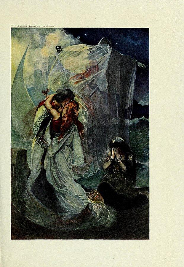 Na ilustracji znajduje się kobieta imężczyzna nad brzegiem morza. Stoją. Obejmują się, wtulając się wsiebie. Mężczyzna czule całuje kobietę wpoliczek. Ma zamknięte oczy. Kobieta jest tyłem do obserwatora. Ma długie włosy idługa suknię. Po ich prawej stronie siedzi kobieta, zasłania dłońmi twarz. Wtle postać zasłonięta tkaniną - półnaga kobieta.