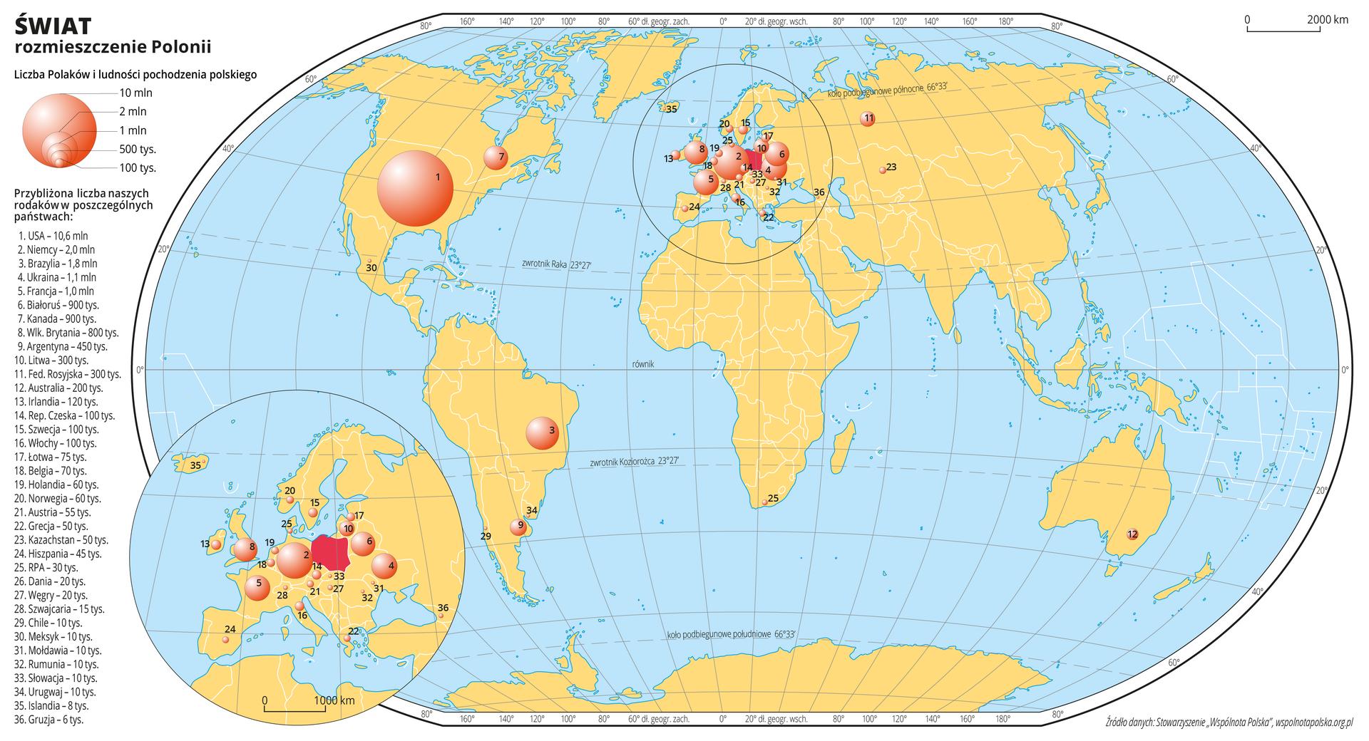Ilustracja przedstawia mapę świata. Wody zaznaczono kolorem niebieskim. Na mapie za pomocą różnej wielkości kół zaznaczono liczbę Polaków mieszkającą winnych krajach. Największe kółko jest wStanach Zjednoczonych Ameryki Południowej (dziesięć milionów Polaków), duża ilość kółek znajduje się wkrajach Europejskich – największe kółko na tym obszarze jest wNiemczech – dwa miliony Polaków. Wcelu lepszej czytelności fragment mapy zobszarem Europy powiększono iumieszczono wlewym dolnym rogu mapy świata. Numerami od jeden do trzydzieści sześć opisano na mapie poszczególne państwa według malejącej liczby ludności pochodzenia polskiego.Mapa pokryta jest równoleżnikami ipołudnikami. Dookoła mapy wbiałej ramce opisano współrzędne geograficzne co dwadzieścia stopni.Po lewej stronie mapy narysowano koła różnej wielkości iobjaśniono ich wielkość wzależności od liczby ludności pochodzenia polskiego. Wypisano wszystkie trzydzieści sześć państw, wktórych mieszka ludność pochodzenia polskiego wraz znumerami, którymi oznaczono je na mapie iliczbą ludności pochodzenia polskiego.