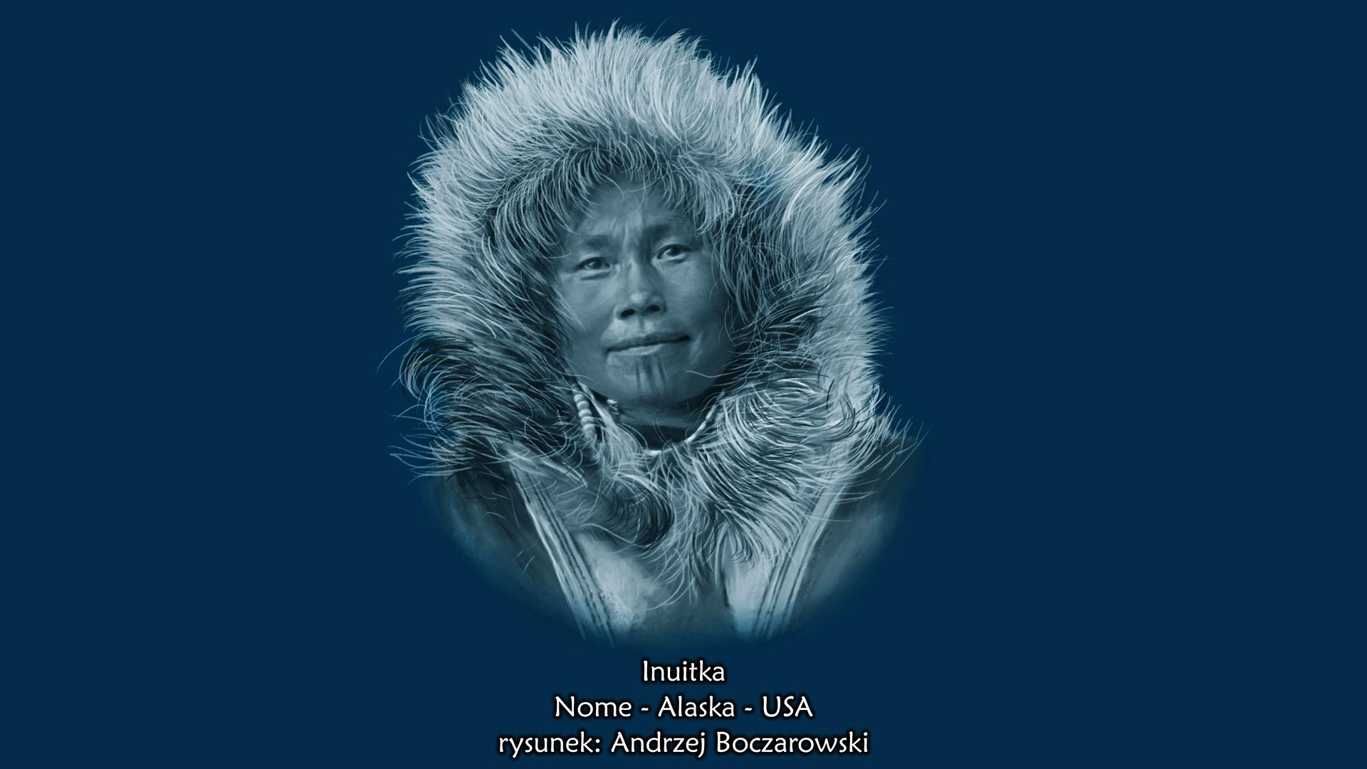 Ilustracja prezentuje portret Inuitki. Jest to, kobieta ookrągłej płaskiej twarzy, małych szparach ocznych imałym nosie. Kobieta ubrana jest wkurtkę zfutrzanym kapturem.
